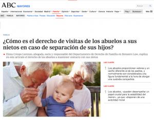 El derecho de visitas de los abuelos a los nietos en caso de separación de los hijos