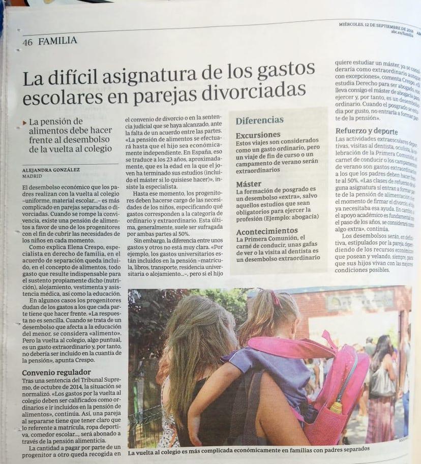 ABC familia Elena Crespo gastos escolares en caso de divorcio