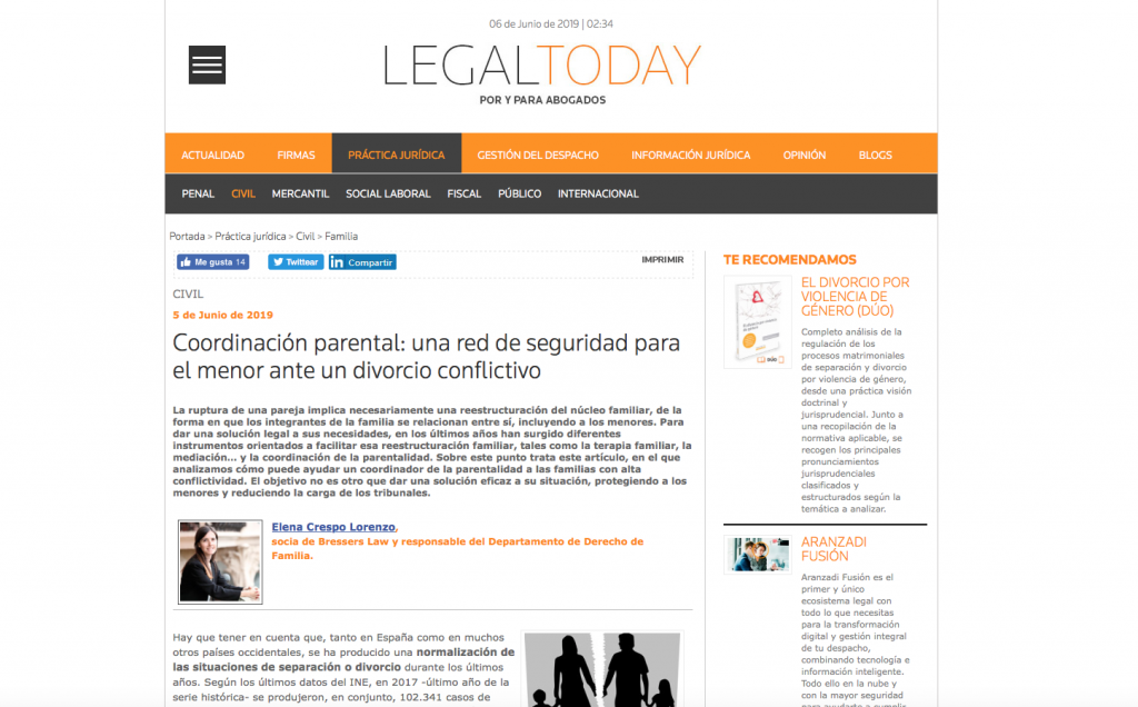 coordinacion parental elena crespo legal today